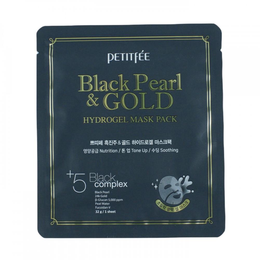 Маска для шкіри обличчя гідрогелевая із золотом та екстрактом чорних перлинPetitfee Koelf