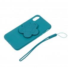 "Чехол для телефона 3D с подставкой-зеркальцем ""Цветок"" цвет голубой арт.TP01966-2"