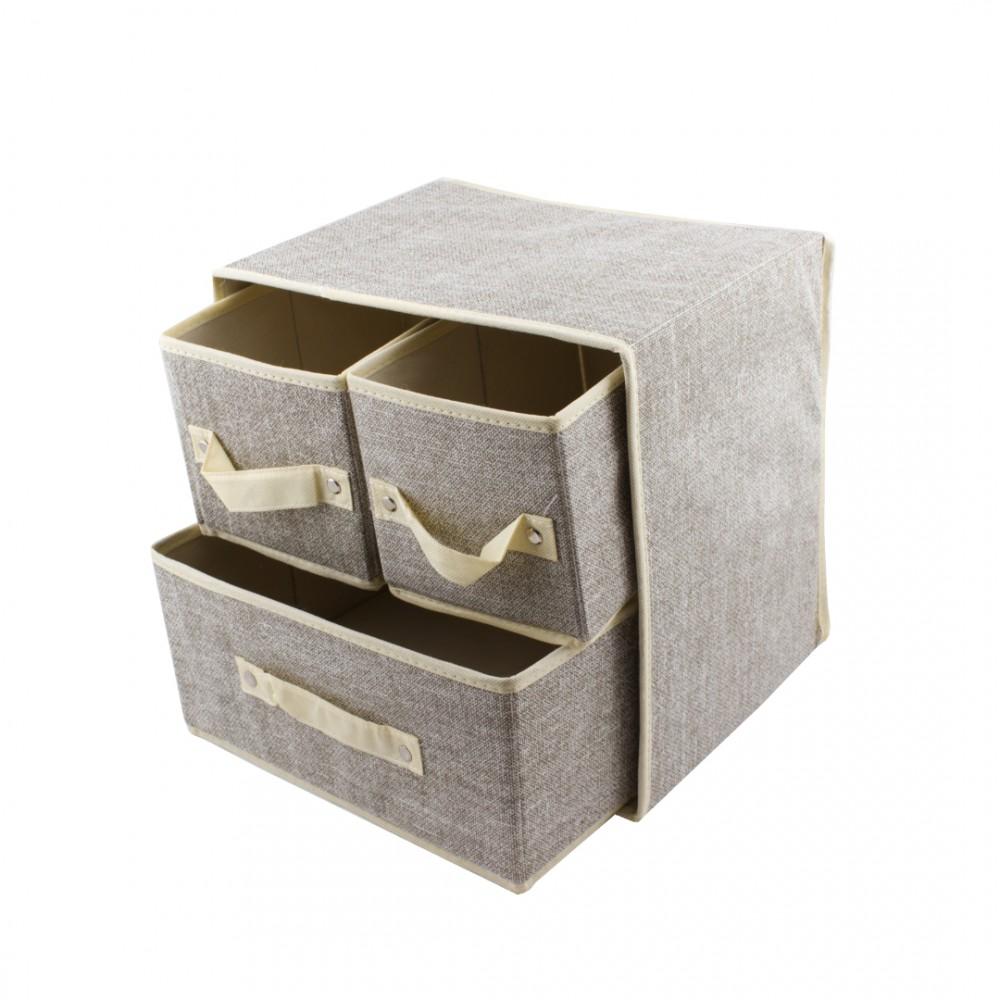 Органайзер для хранения вещей серый 3 шухлядки