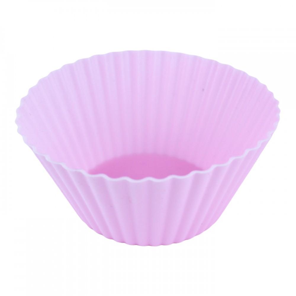 Форма для випікання кексів, класична, силіконова, колір рожевий