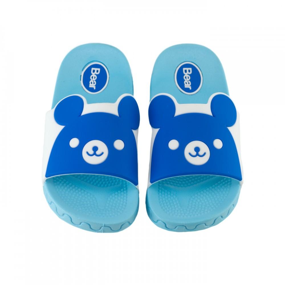 Шлепанцы детские с Мишками голубого цвета01