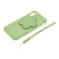 "Чехол для телефона 3D с подставкой-зеркальцем ""Цветок"" цвет зеленый арт.TP01964-2"
