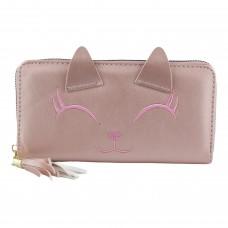 Гаманець жіночий, довгий, кошеня з віями, колір темно-рожевий