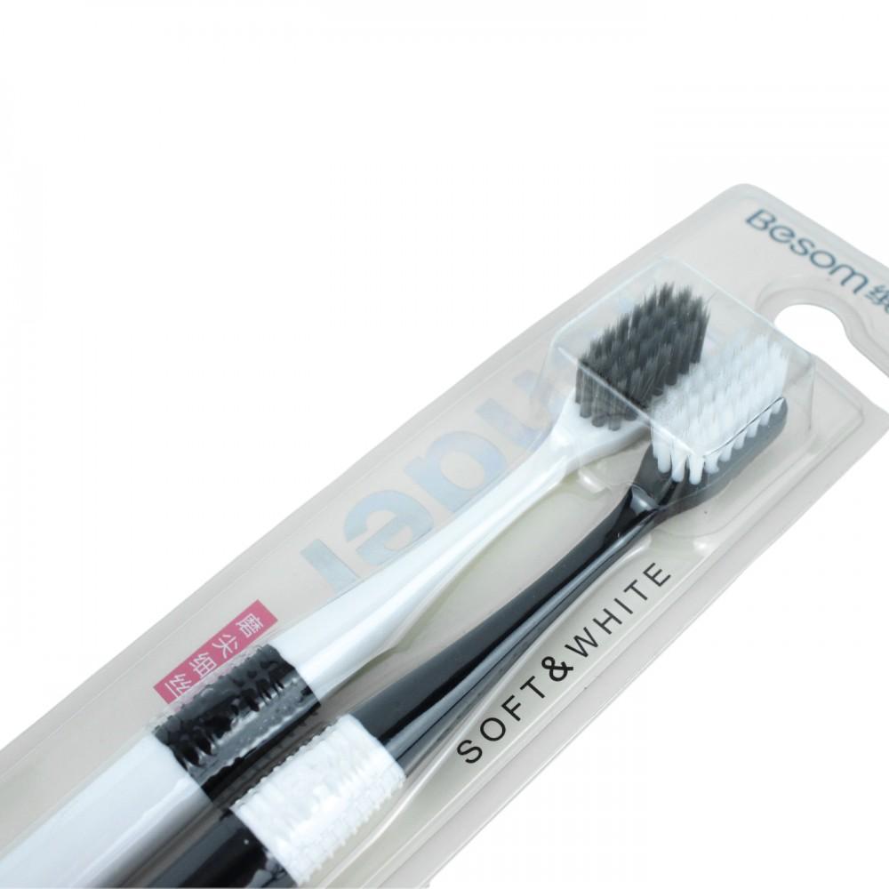 Зубна щітка, середня жорсткість, чорна та біла, 2 шт, Besom