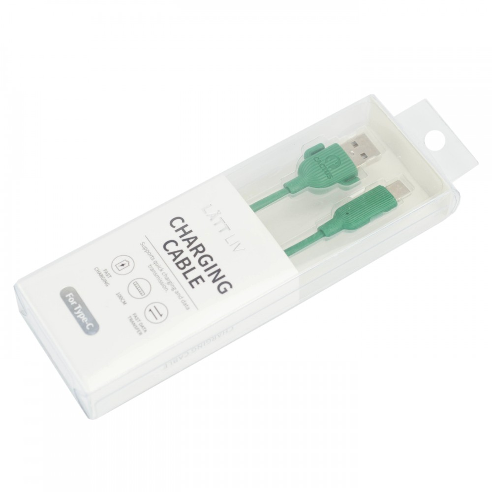 Дата-кабель для смартфону Type-C колір зелений