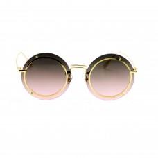 Окуляри сонцезахисні, кругла форма, колір золото