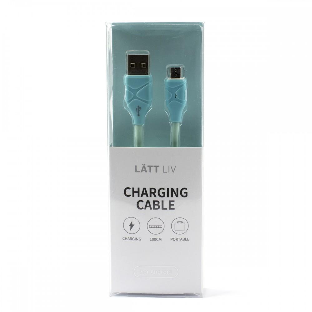 Дата-кабель для зарядки Micro блакитний колір