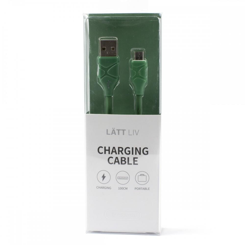 Дата-кабель для зарядки Micro зелений колір