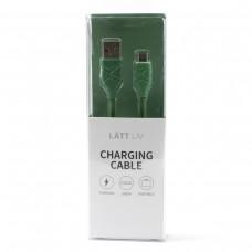 Дата-кабель для зарядки Micro зеленого цвета