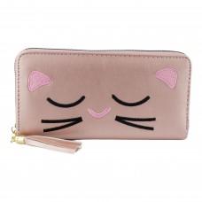 Гаманець жіночий, довгий, кошеня з вусиками, колір темно-рожевий